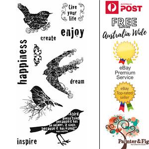 Birds Stamps - Dream, Inspire, Happiness, Create, Blackbird, Swallows - Fiskars