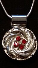 Silver Swirl Red Snap, Silver Snap Pendant & 26 inch .925 Sterling Silver Chain