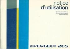 PEUGEOT 205 Betriebsanleitung 1987 Bedienungsanleitung Instructieboekje BA