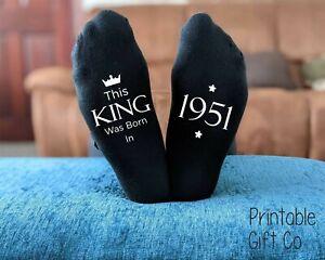 This King 1951 - 70th Birthday Printed Socks -  Men's Novelty Birthday GIFT
