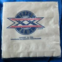 Package of unopened Super Bowl XX 1986 Louisiana Superdome Beverage Napkins