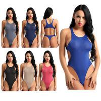 Sexy Women Lingerie Mesh Sheer See-through Bodysuit High Cut Teddy Leotard Thong
