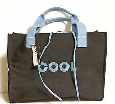 "BRACIANO ""COOL"" Canvas Tote Handbag Bag Black with Blue Trim NWT"