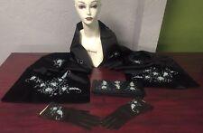Vintage 40s 50s Hand Beaded Matching Satin Shawl Clutch Gloves Set Black