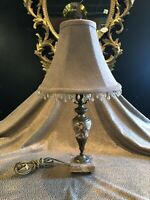 Circa 1920 Antique Stone and Brass Boudoir Table Lamp