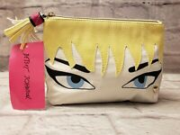 Betsey Johnson Cosmo Cosmetic Bag Zip Top Pouch Face Quilted Pink Lips NWT $42