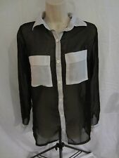 Lipstick Long Sleeve Button Front Sheer Shirt  Black w/ White Pockets Women's S