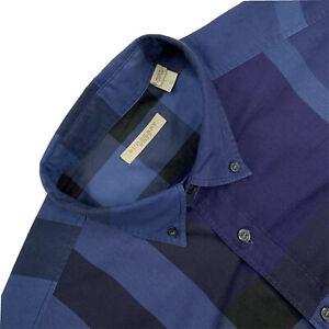 Mens L BURBERRY BRIT Royal Blue Nova Check Slim Fit Button Down Shirt