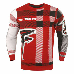Forever Collectibles NFL Men's Atlanta Falcons Plaid Crew Neck Sweater