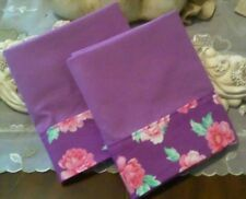 COUNTRY COTTAGE SET OF TWO SOLID PURPLE & FLORAL BORDERED PILLOWCASES - NEW
