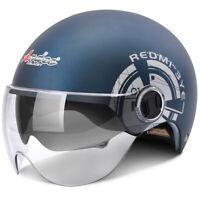 Motorcycle Half Helmet Dual Sun Visor Scooter Chopper Unisex Summer Helmet Blue