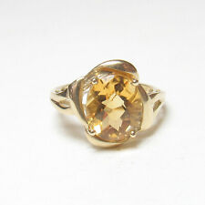 STS JEWELS 10K Yellow Gold 3.30 Ct Natural  Sun Orange Citrine Solitaire Ring