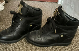 Michael Kors Learher Lace-up High-top Wedges Sneakers Black