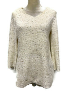 Chico's Sweater Size 1 (Med, 8) Cream with Gold Sequins 3/4 Sleeves