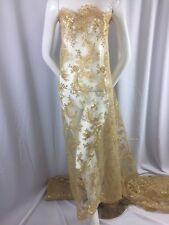 Gold Corded French Design Embroider With Sequins On A Mesh Lace Fabric-by Yard