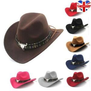 Womens Mens Hat Cowgirl Cowboy Wild West Hats Western Headwear Wide Brim Cap UK