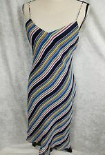 Ralph Ralph Lauren Vtg Multi-Striped Slip Dress V Neck Size 8     D1