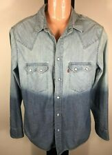 Levis Vintage Blue Denim Two Tone Shirt - Long Sleeve - Size Small - Free Post