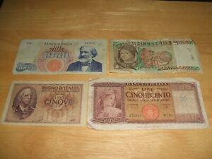 4 X OLD BANKNOTES FROM ITALY