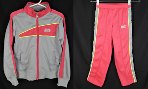 Vintage 80's Girls Nike Track Suit Girl's Size 6 Pink and Gray Blue Tag Rare