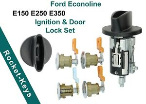 Ford Econoline Van E150 E250 E350 Ignition + 4 Door Lock Set with 2 Ford Keys