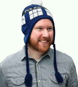 Doctor Who Tardis Laplander Beanie Knit Cap hat