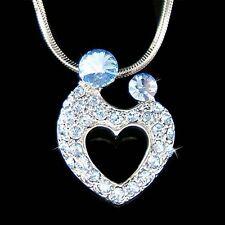 w Swarovski Crystal MOM ~Mother Love Baby~ Child Kids Heart Necklace Mothers Day