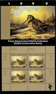 Pei #2M 1996 Bécasse Conservation Tampon Mini Feuille De 4 IN Dossier