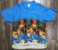 Cherokee Waikiki Wear Hawaiian Floral Men's Size XL Short Sleeve Shirt Sunset