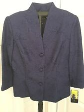 Virgo Women's Blazer Jacket Coat, Royal Blue, Size 8, NWT
