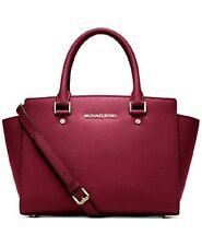 New Michael Kors Selma Saffiano Leather Medium Satchel cherry shoulder bag gold