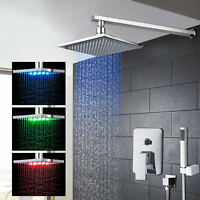 "Chrome LED 8""/10""/12""/16"" Rain Bathroom Shower Head Hand Spray Mixer Faucet Taps"