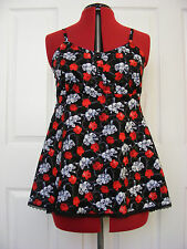 NEW HAND CRAFTED SKULLS ROSES STRAPPY SUMMER SUN TOP UK 10 -12 CLUB DANCE