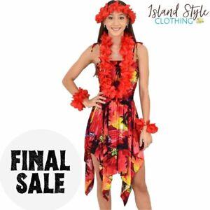 Red Sunset Pixie Dress + Lei Set Hawaiian Costume