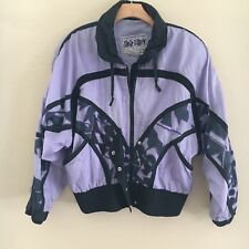 Vintage East West Panda Group Purple Pattern Nylon Jacket Windbreaker Mens Sz M