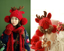 Christmas Deer Hat Elk Horns Ear Cap Reindeer Pom Warm Winter Knit Cap Costum