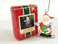 Vintage 1988 Hallmark Keepsake Ornament Soft Landing Santa Ice Skating Christmas