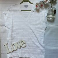Jigsaw Size S 10 12 white 100% linen short sleeve t shirt top loose fit smock VG