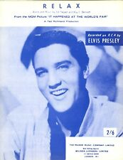 ORIGINAL Elvis Presley SHEET MUSIC - Relax - UK - Mint