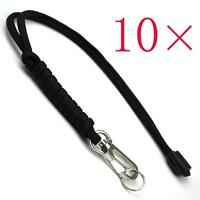 10 x Parachute Cord Rope 7Cores Flashlight Knife Keychain Clasp Lanyard Black
