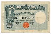 ITALY banknote 50 Lire 8.10.1943. VF Very Fine