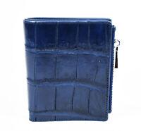 Real Navy Blue Crocodile Alligator Leather Belly Skin Women Zipper Bifold Wallet