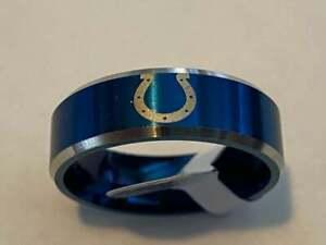 Indianapolis Colts Team Blue Titanium Ring style #3, sizes 6-13