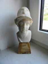 """Alabaster Büste, """"Göttin - Pallas Athene"""", Marmor-Sockel, antik um ca. 1900"""
