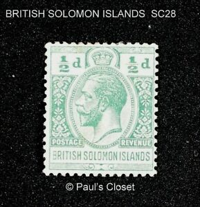 BRITISH SOLOMON ISLANDS 1914 SC28 1/2p GEORGE V MLH OG FINE - VERY fine