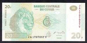 Congo Democratic 20  Francs 2003  UNC P. 94,  Banknotes, Uncirculated