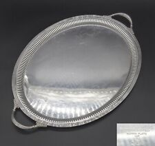 """LARGE HEAVY MAPPIN & WEBB FLUTED GALLERY BUTLERS SERVING TRAY 23"""" SILVER PLATED"""