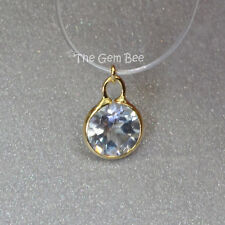 4MM 14k Solid Yellow Gold White Topaz Circle Bezel Charm pendant (1)
