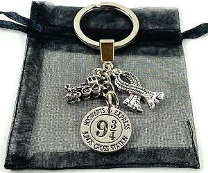 Wizard Keyring School Train Charm Keyring Train Platform Keychain Gift Bag