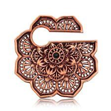 PAIR 0G TRIBAL ROSE BRASS EAR WEIGHTS MANDALAN FLOWER PLUGS TUNNELS GAUGE PLUG